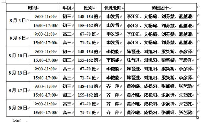 暑假两级毕业班办理团籍转出工作时间安排表
